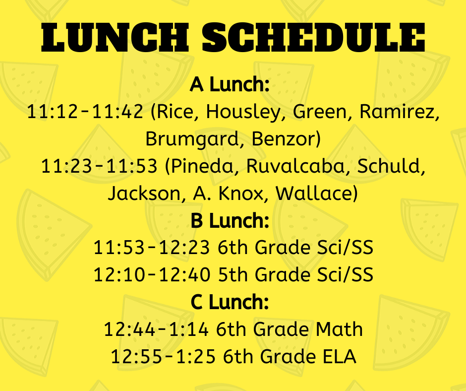 5th & 6th Grade Lunch and Recess Schedule