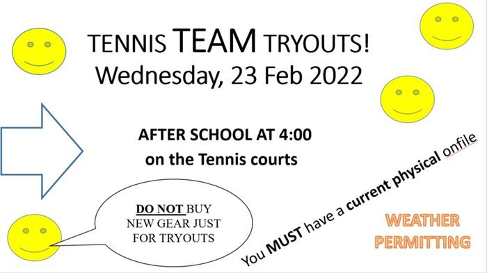 Tennis Class Tryouts