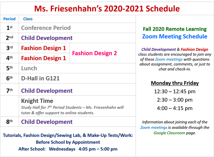 Ms Friesenhahn's 2020-21 Schedule with Zoom Times