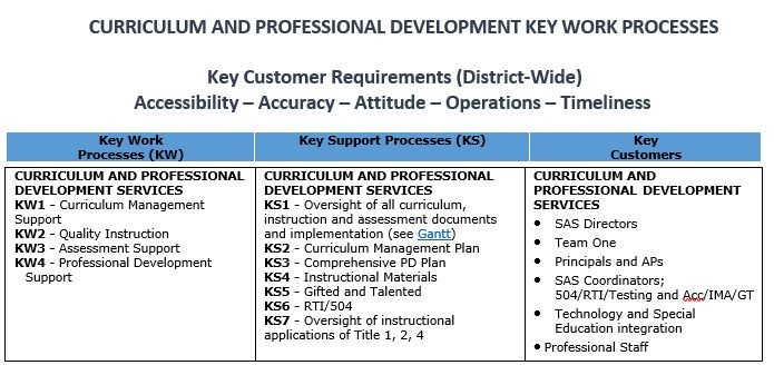 Curriculum and Professional Development Key Work Processes