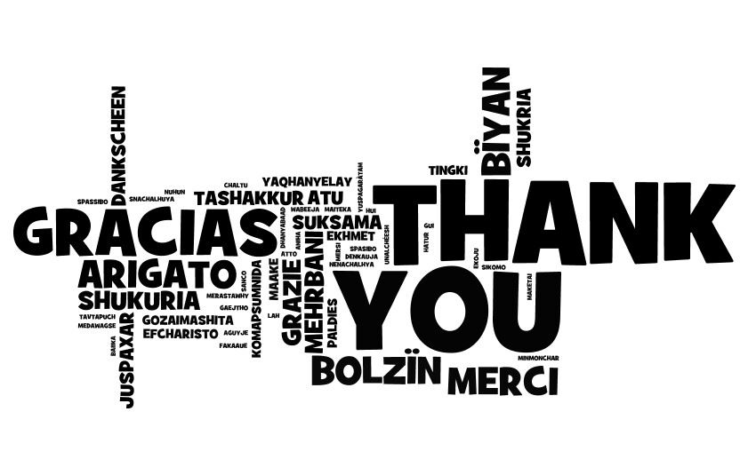 Image of of Thank You in multiple languages