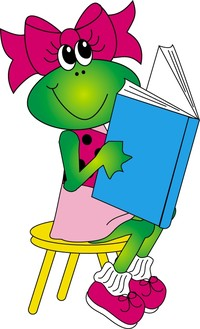 girl frog reading book on stool