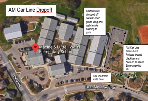 AM Car Line Dropoff Map